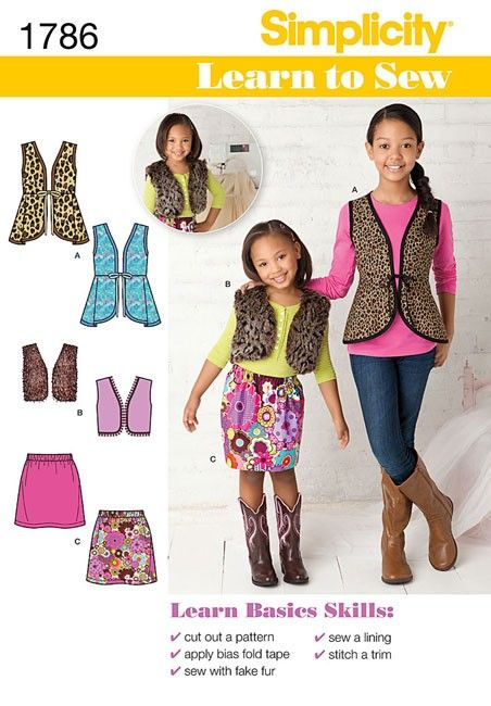 Learn to Sew Childs and Girls Separates Simplicity Pattern 1786 ...