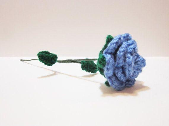Blue Crochet Rose Handmade Blue Rose With Stem by MadebyJody666