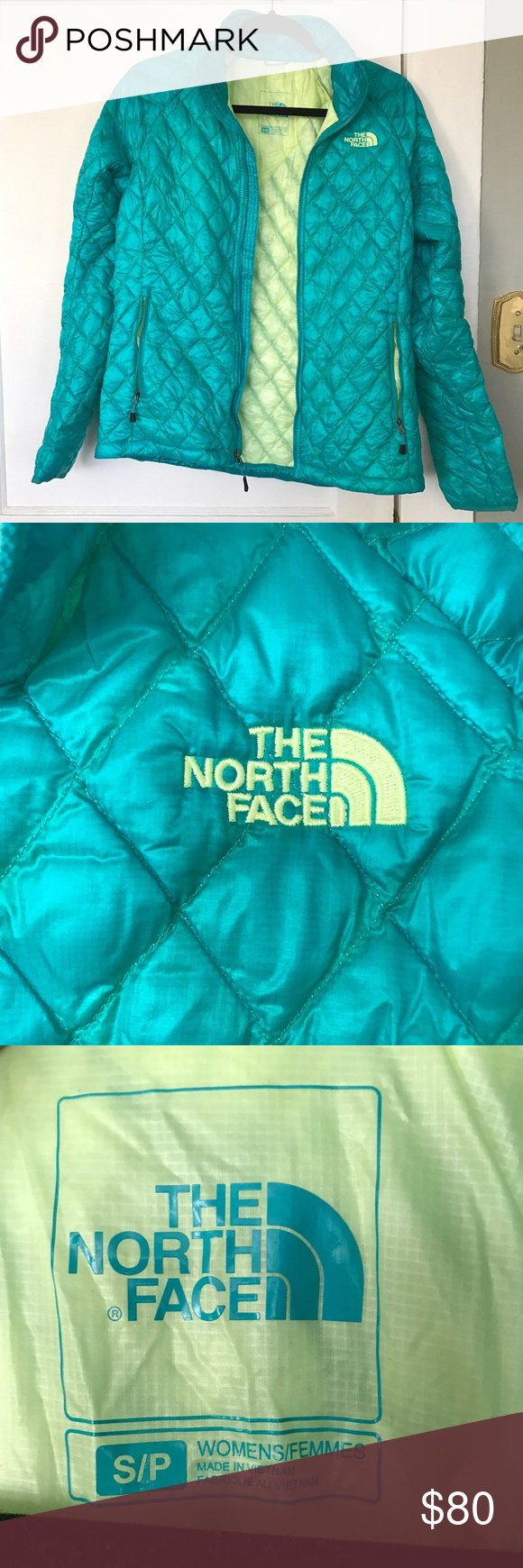 80's INSPIRED NORTH FACE PUFFER JACKET! Lightweight! Perfect for layering. Never worn!!!! Sz Sm. An 80's inspired puffy jacket with blue &green details! North Face Jackets & Coats Puffers