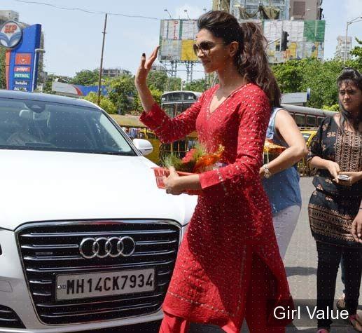 Deepika Padukone in Red Salwar Kameez