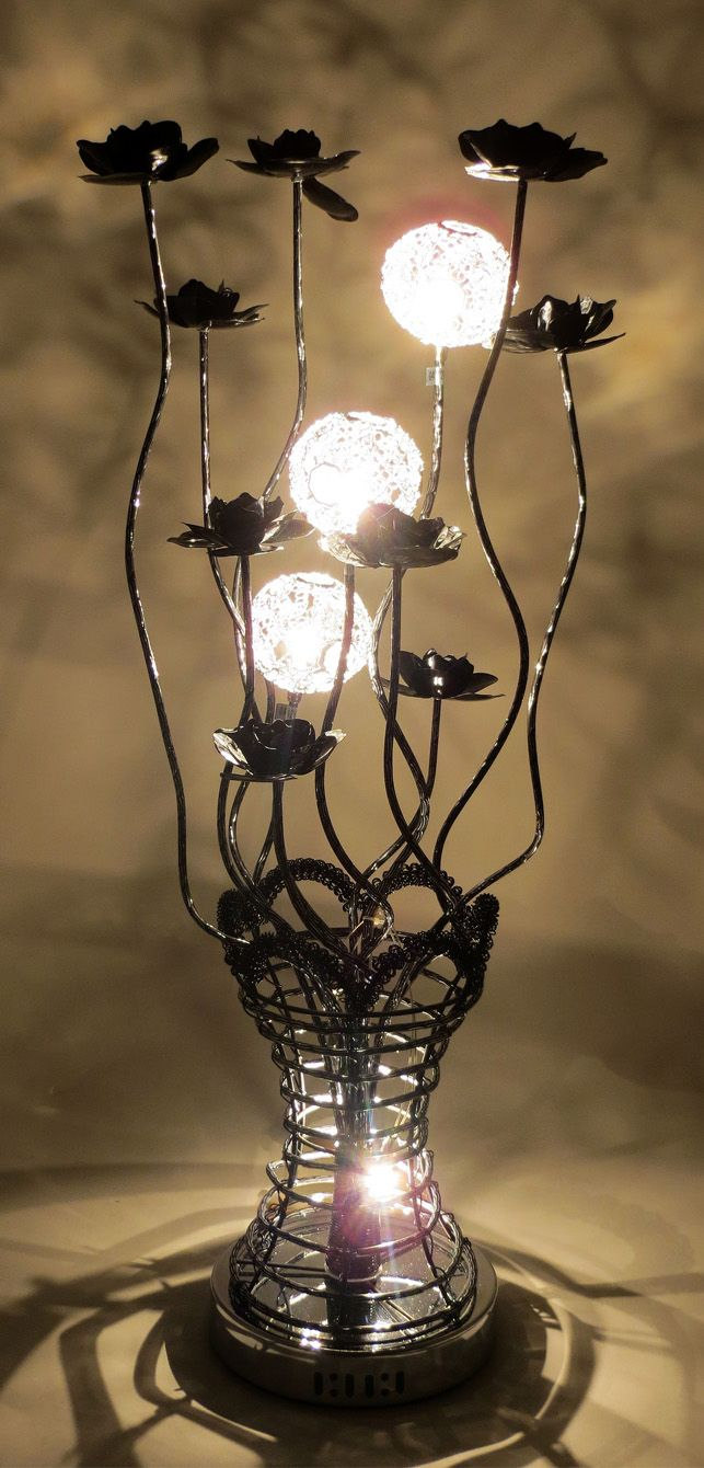 Httpwirelampswlt3101 5blackml 80cm tall woven wire httpwirelampswlt3101 5blackml 80cm tall woven wire table lamp with fluted vase and riveted rim featuring bloomed black flowers greentooth Choice Image