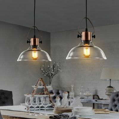 6''/10/13 Wide Mini Clear Glass LED Pendant Light in Copper Finish #pendantlighting