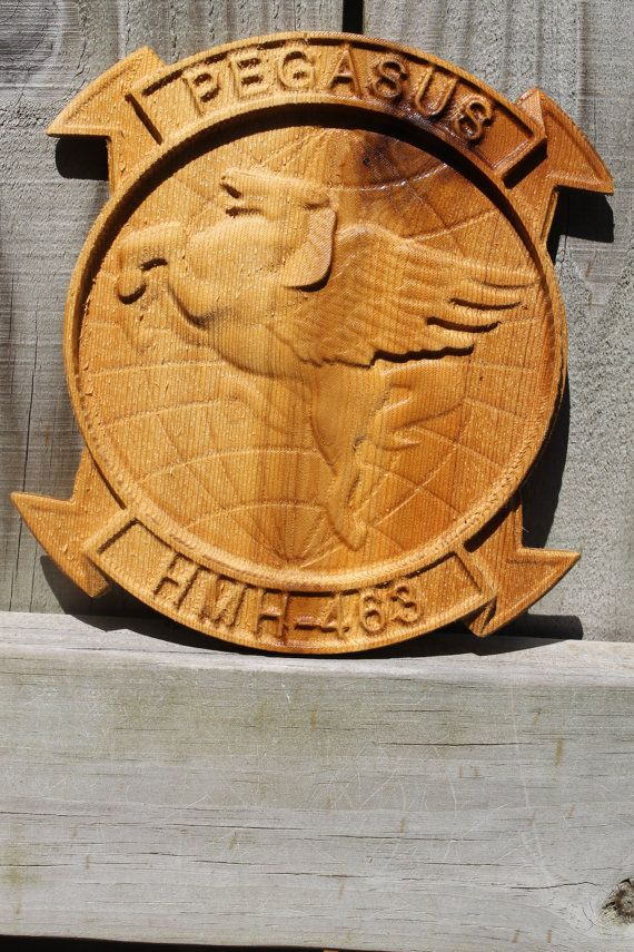 HMH 463 Squadron Patch carved 12x8 roughly by TAWoodandVinyl, $50.00