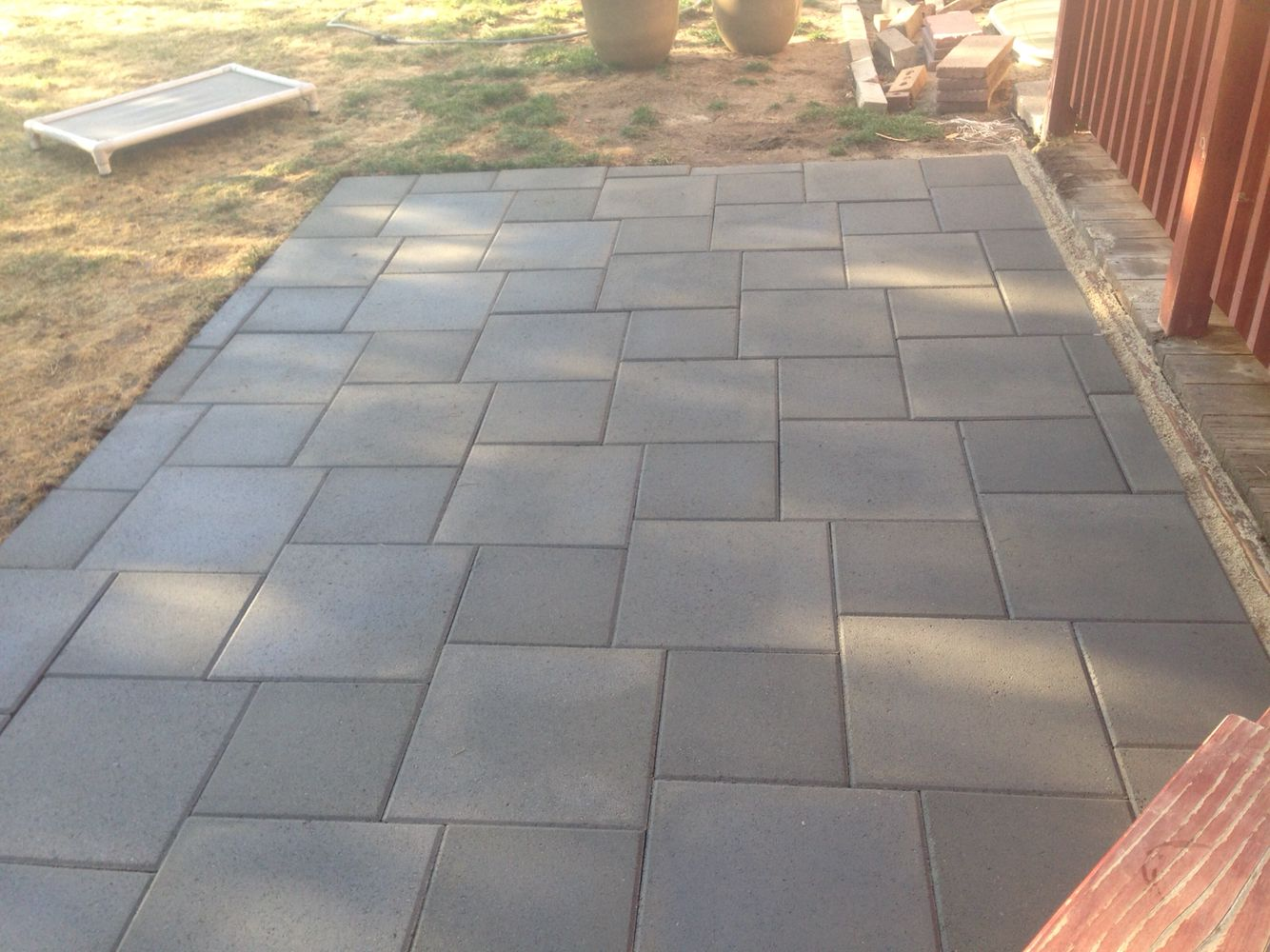 Patio of inexpensive concrete pavers   Outdoors  Patio