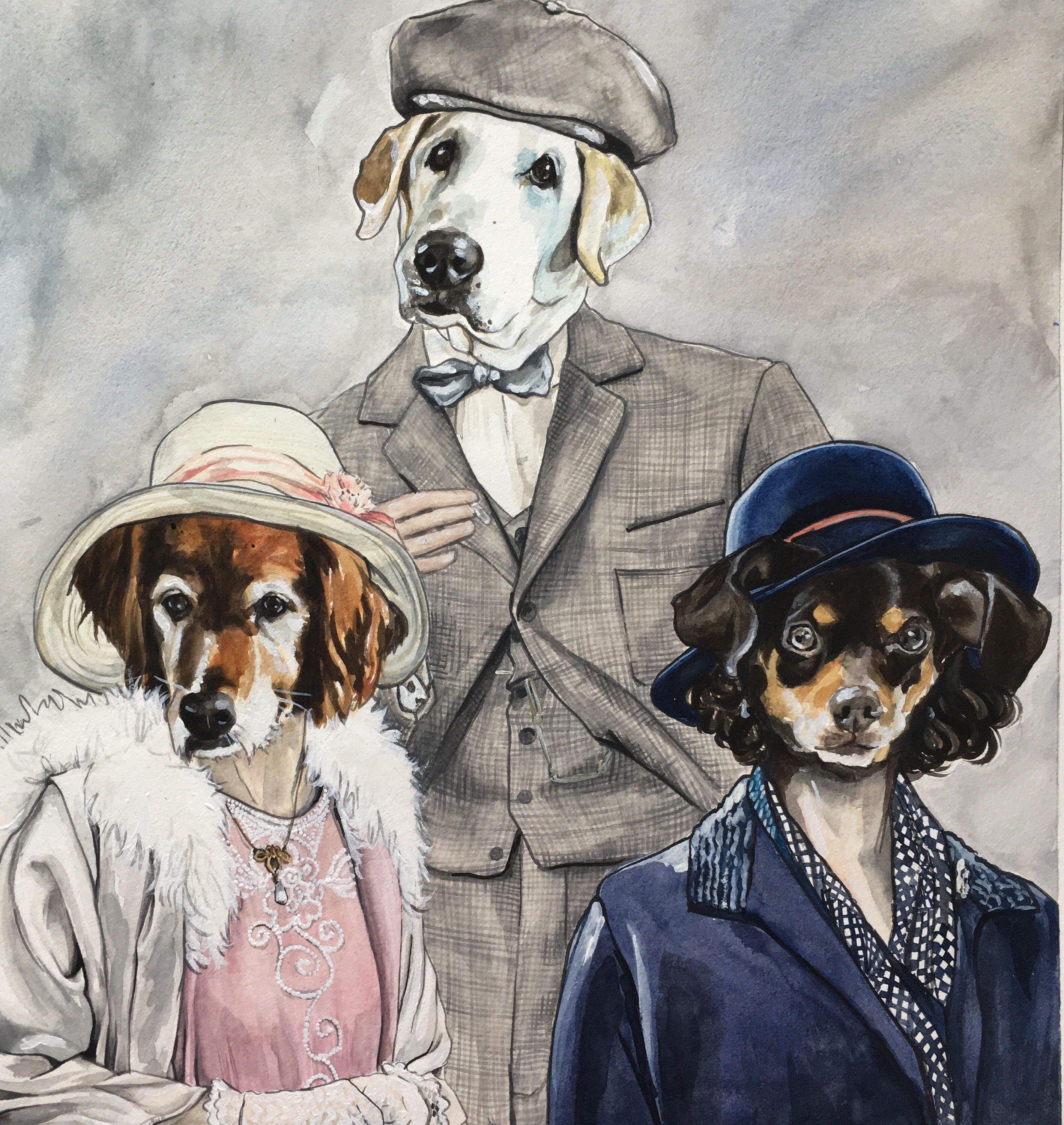 Painting of Dog in ClothesPeaky BlindersBBC by