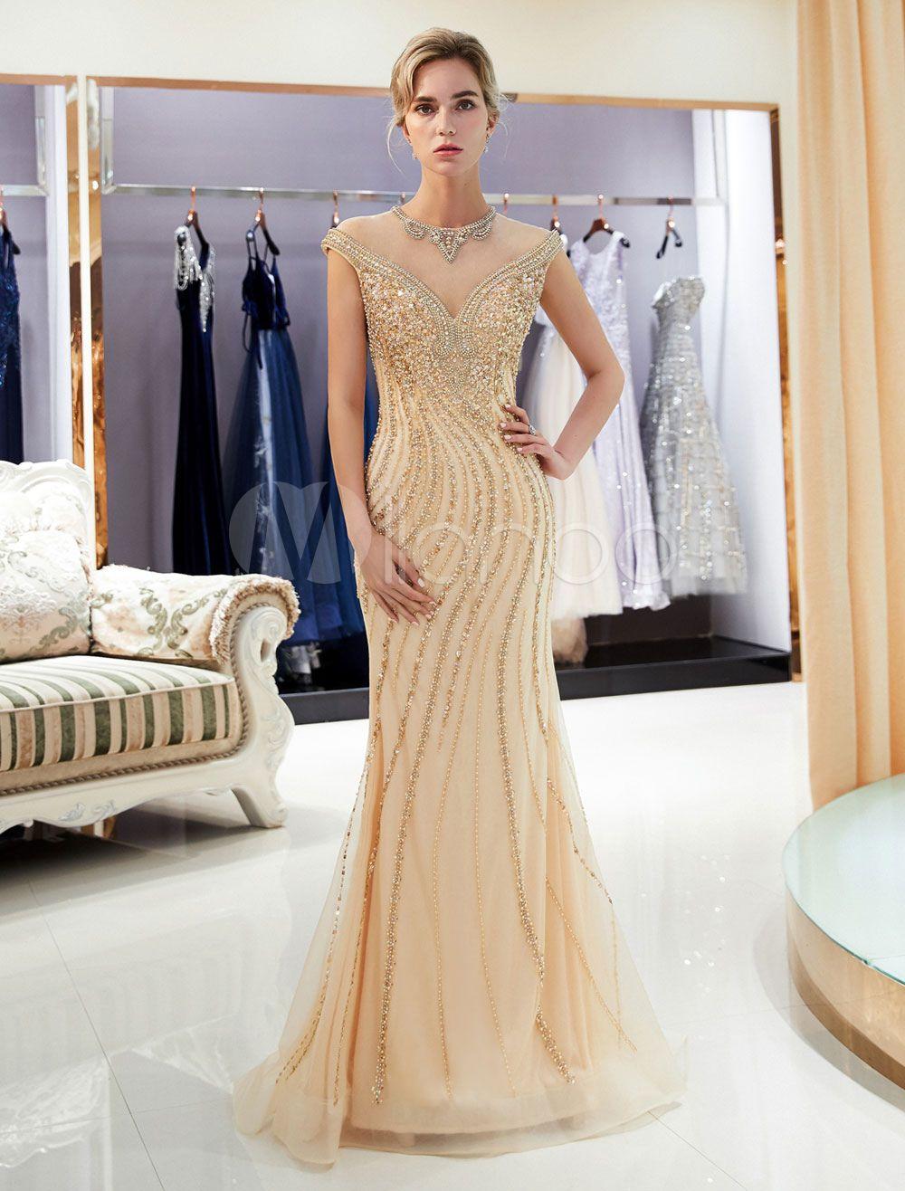 4f9de50b782 Mermaid Prom Dresses Light Gold Beaded Sleeveless Luxury Formal Evening  Dress With Train  Light
