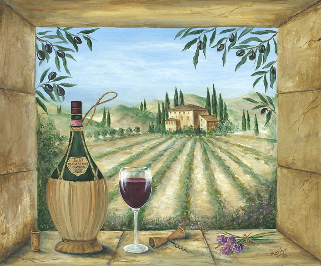 Картинки с деревенским пейзажем в стиле прованс вино