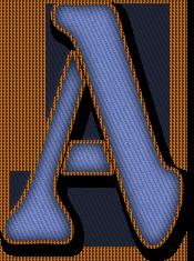 Alfabeto Decorativo: Alfabeto - Jeans Azul Claro 1 - PNG - Maiúsculas e...