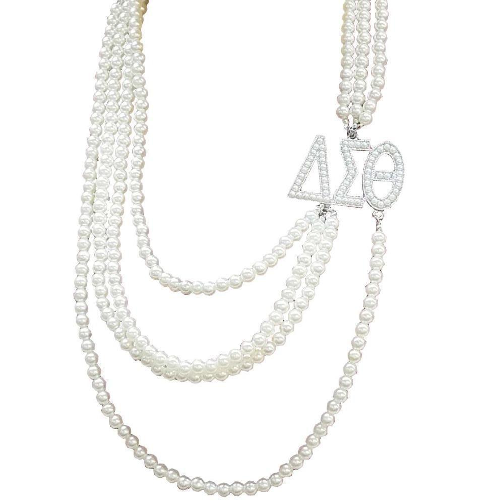 7da89ac2c Delta Sigma Theta Multilayer Long Pearl Necklace - Unique Greek Store