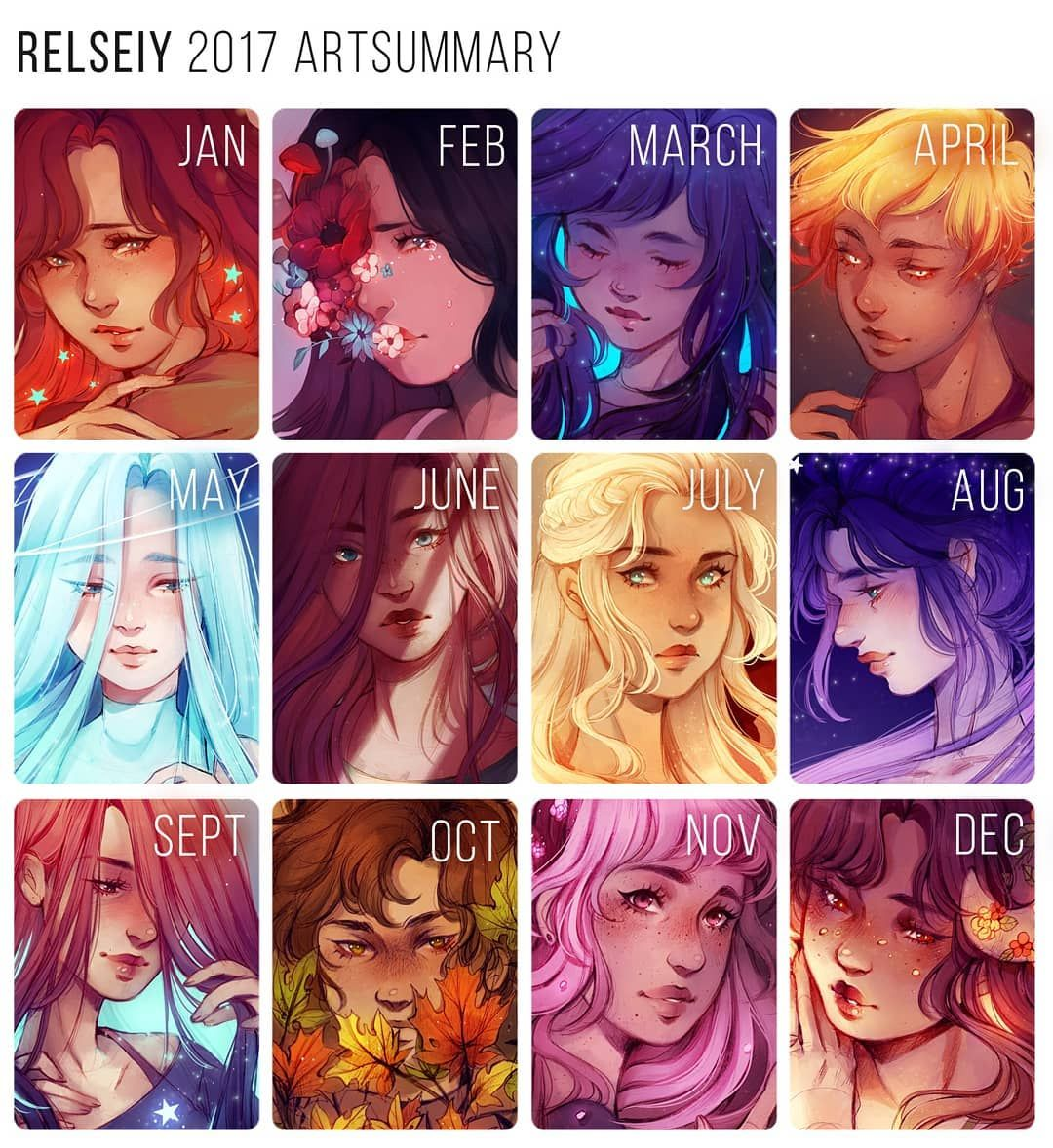 """Reem on Instagram: """"What are your art goals for 2018? In general i feel like 2017 was a good art year for me, i finished more illustrations than i have any…"""""""