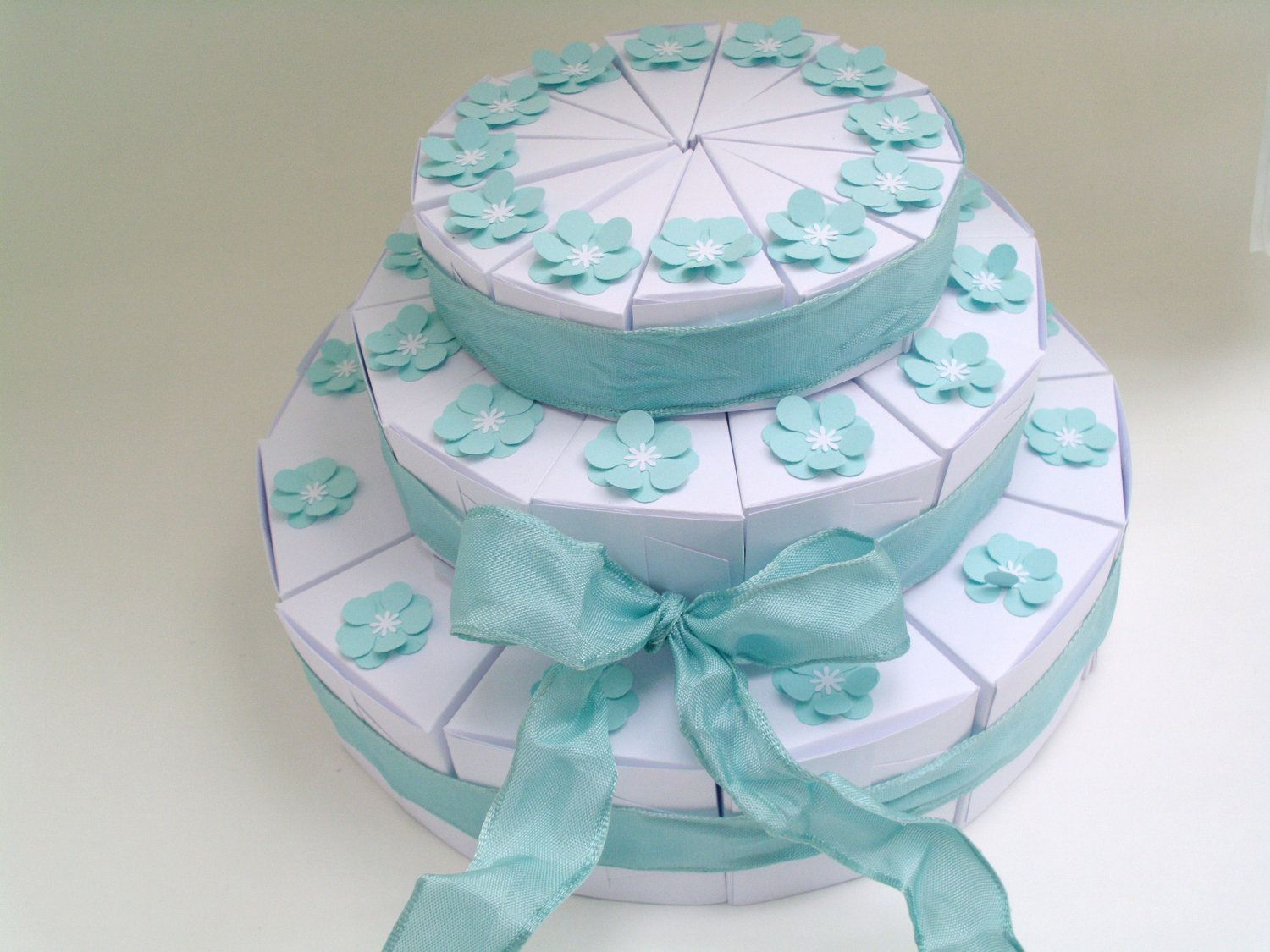 36 white or ivory 3tiered wedding favor slice cake boxes