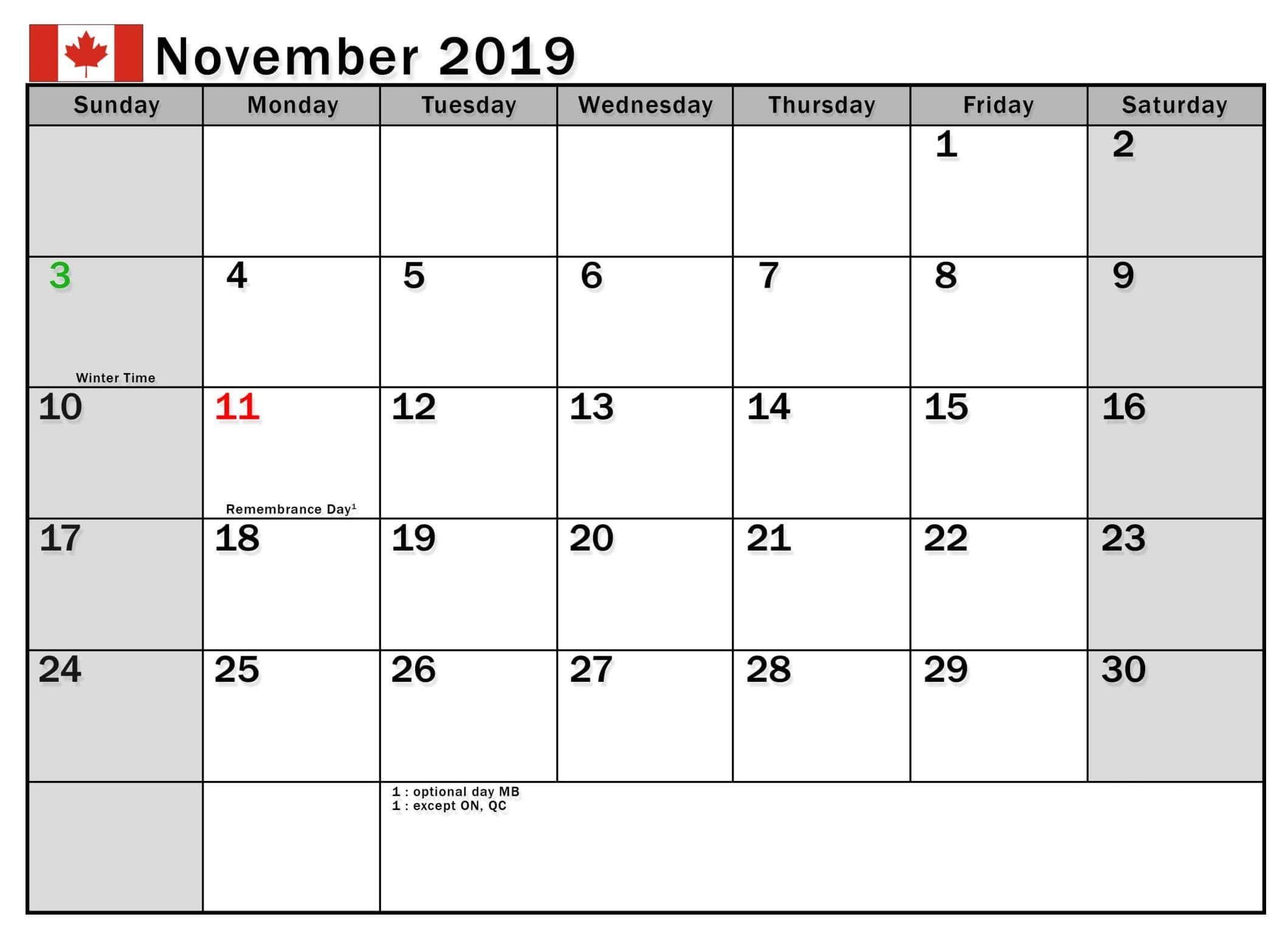 November 2019 Calendar Canada With National Holidays 2019
