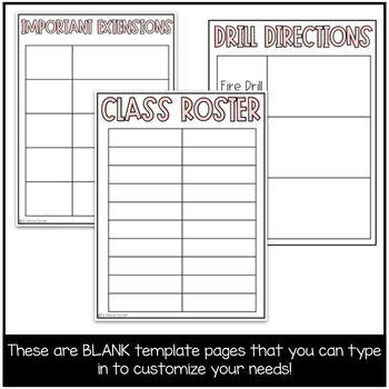 Emergency Sub Plan Template #emergencysubplans