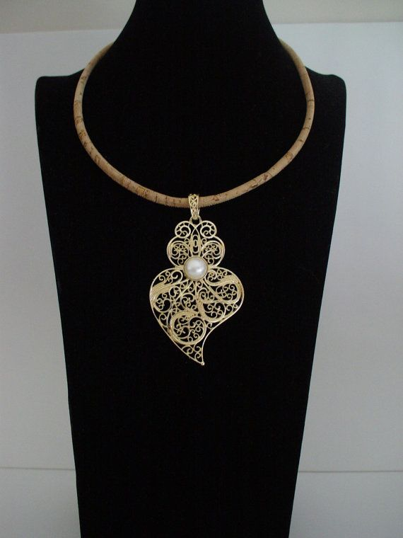 Portuguese Necklace Vianas Heart Filigree Cork With Pendant