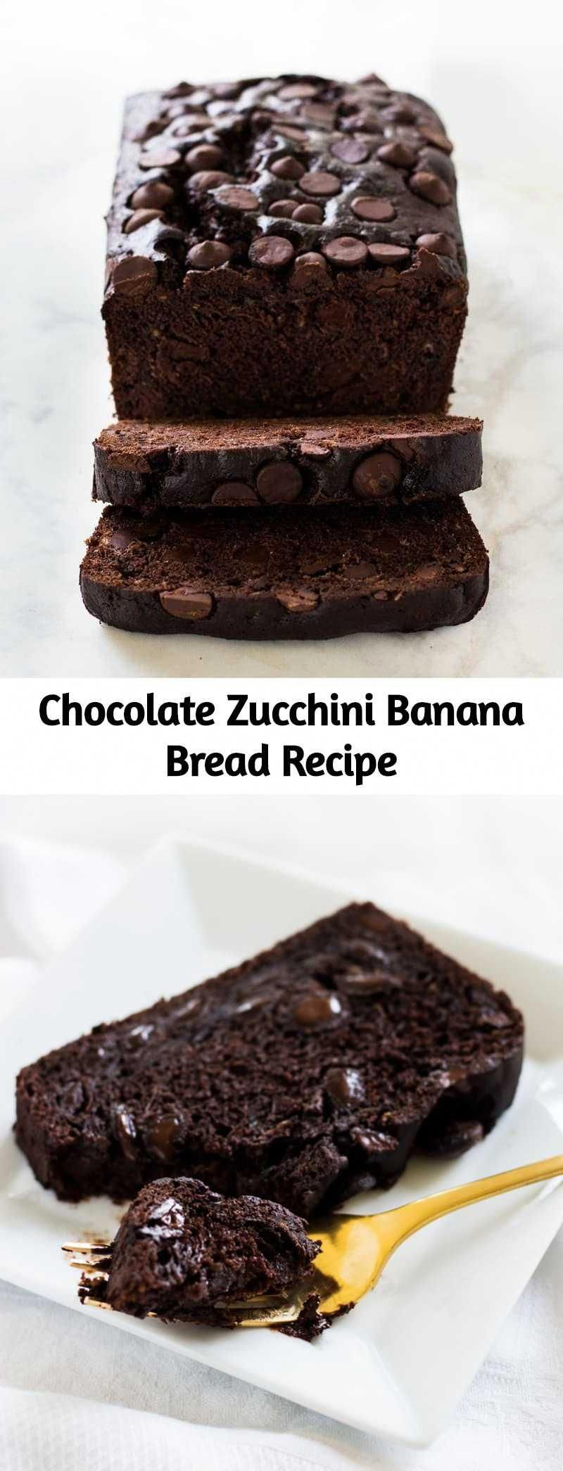 chocolate zucchini banana bread is dense and moist filled