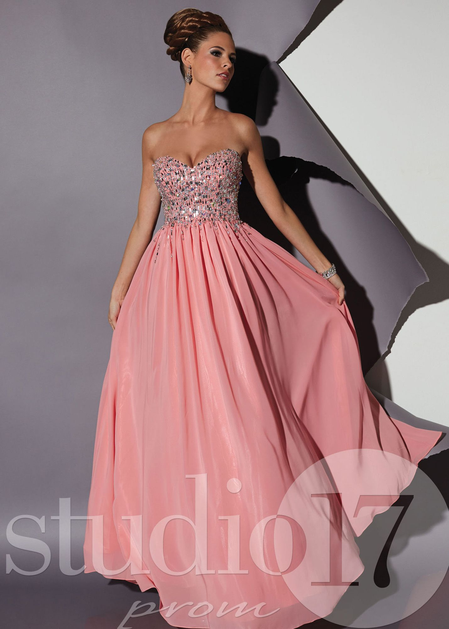 Studio 17 12452 Flamingo Chiffon Beaded Prom Dresses Online | Prom ...