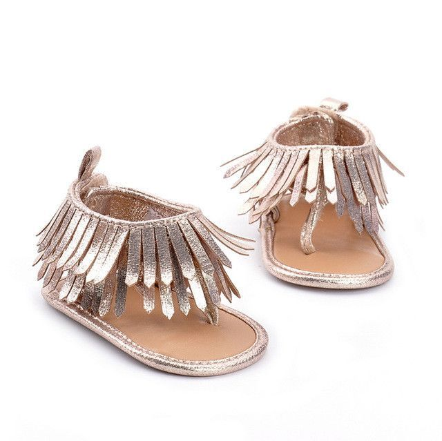 a27630d88b51 Baby Girl s Fringe Tassel Moccasin Sandals (Brown or Silver ...