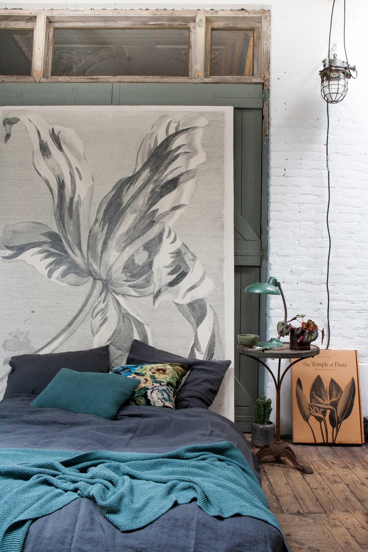 slaapkamer blauw bloemenprint