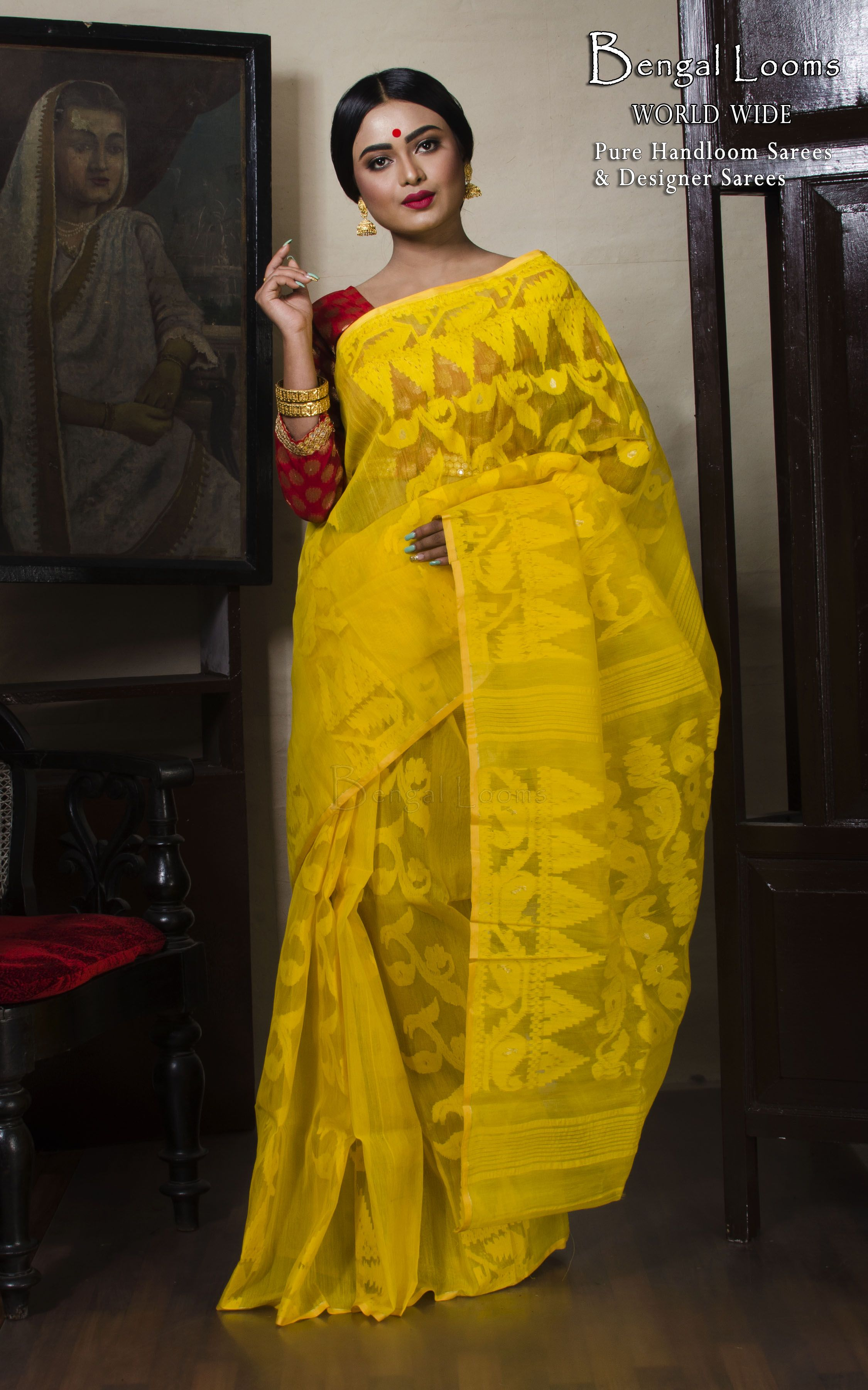 0709ae7e30 Self Work Dhakai Jamdani Saree in Yellow | indian wear in 2019 ...