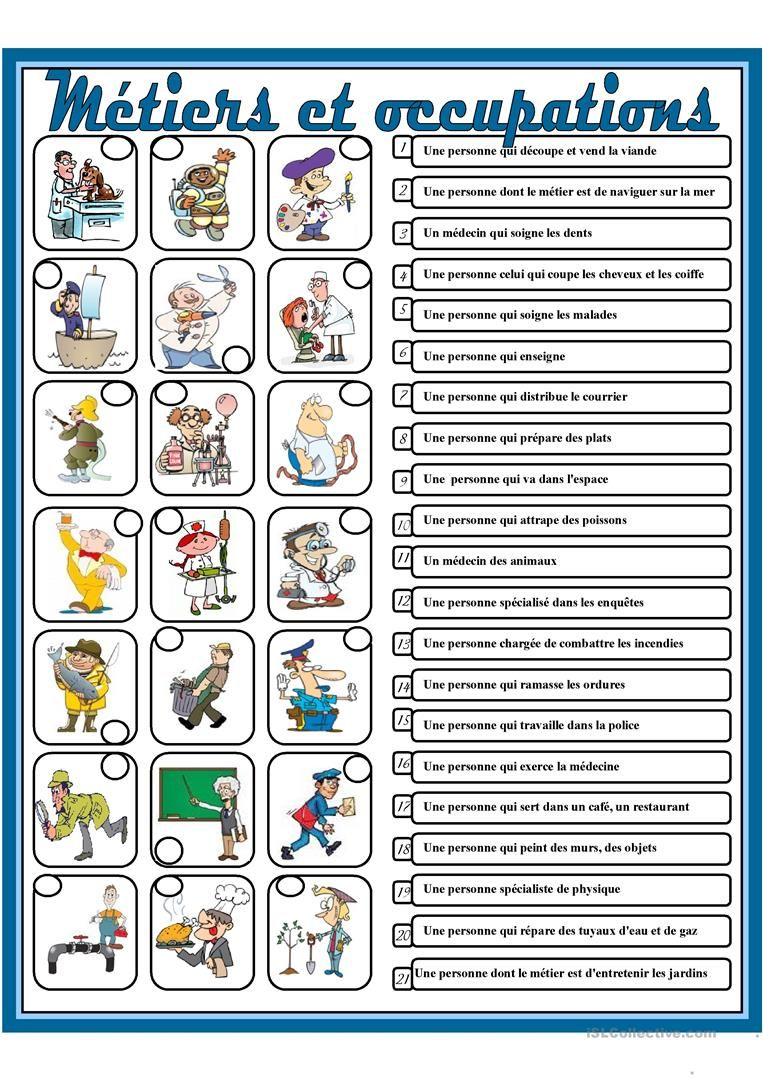 Metiers Et Occupations Fle Fiches Pedagogiques Et Lecture Ce1