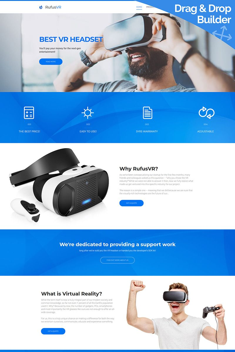 RufusVR - VR Startup Moto CMS 3 Template #65572