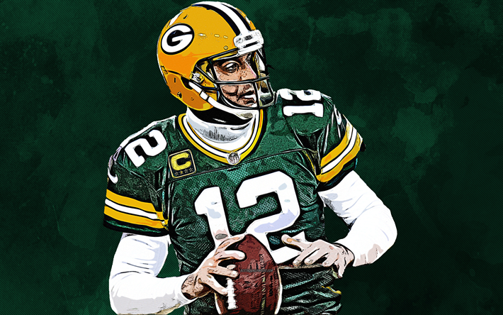 Download Wallpapers Aaron Rodgers Nfl 4k Grunge Art Green Bay Packers Usa American Football Drawi Nfl Football Wallpaper Football Wallpaper Nfl Football