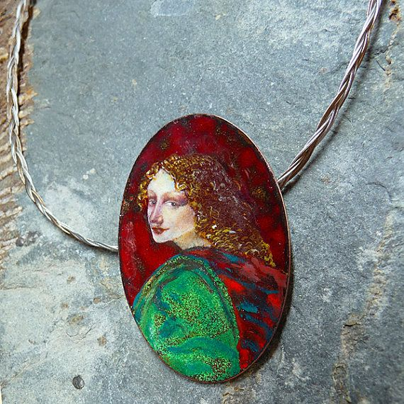 "Pendant: Leonardo da Vinci's ""Uriel"" angel / Penjoll ""Uriel-Leonardo"" / Colgante de esmalte al fuego en cobre , por MNesmalts"