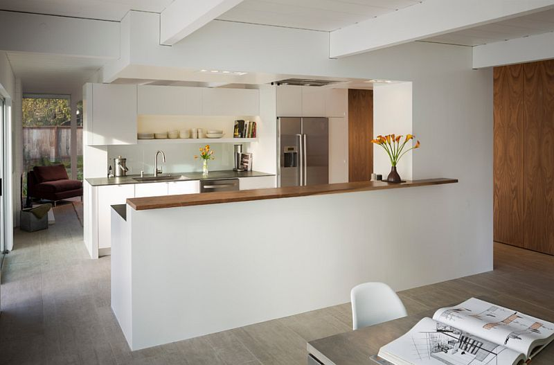 Connect The Kitchen With Dining Space A Half Wall