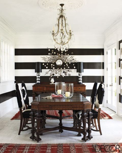 How To Decorate A Large Blank Wall Dining Room Makeover Striped Walls Dining Room Decor