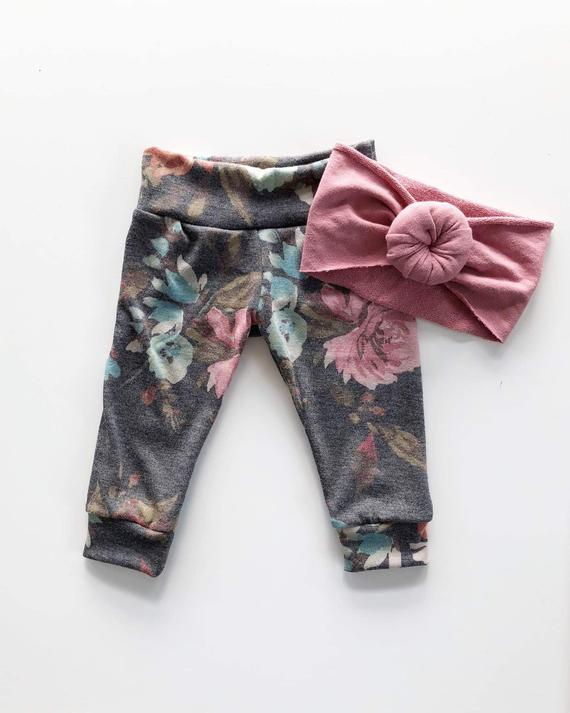 4629c1223 Peach Floral Joggers, Baby Leggings, Baby Joggers, Baby Clothing, Baby  Shower Gift, Modern Baby Clot