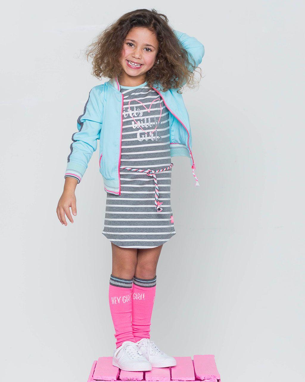 3bc5ace8d17426 Quapi Dress Karen 1 in de kleur Grey melee stripe. Dit grijze jurkje met  korte