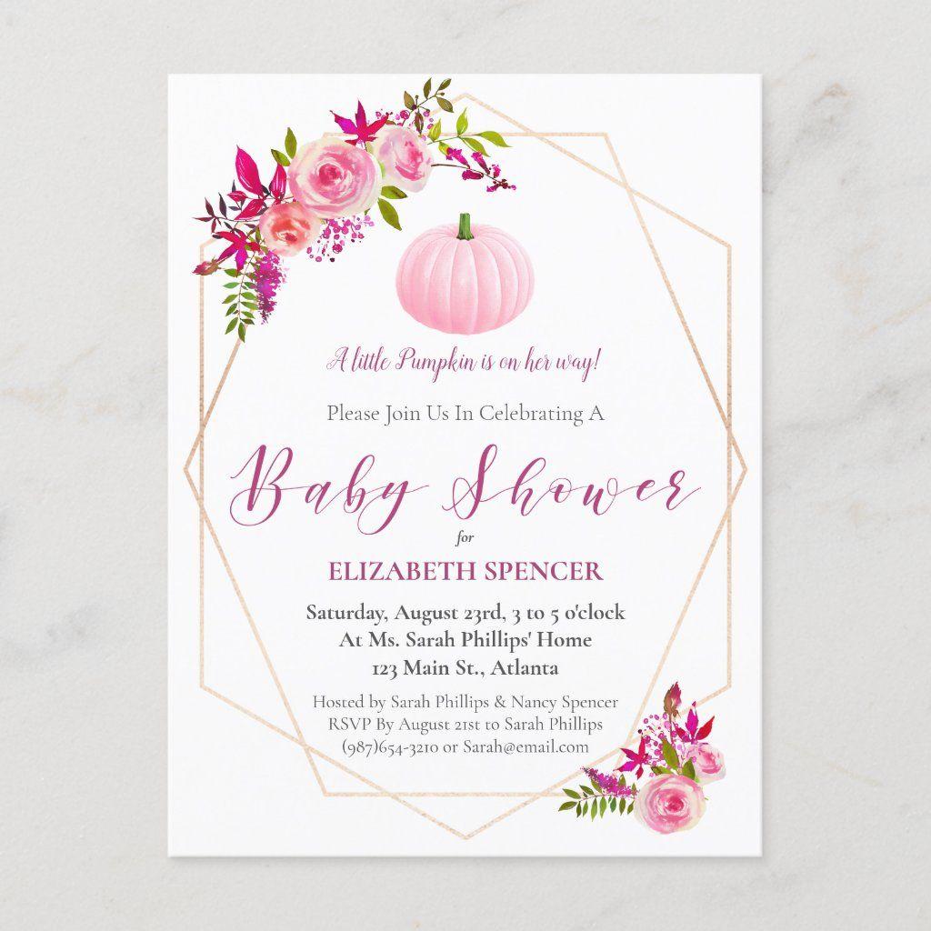 Little Pumpkin Baby Shower Floral Invite