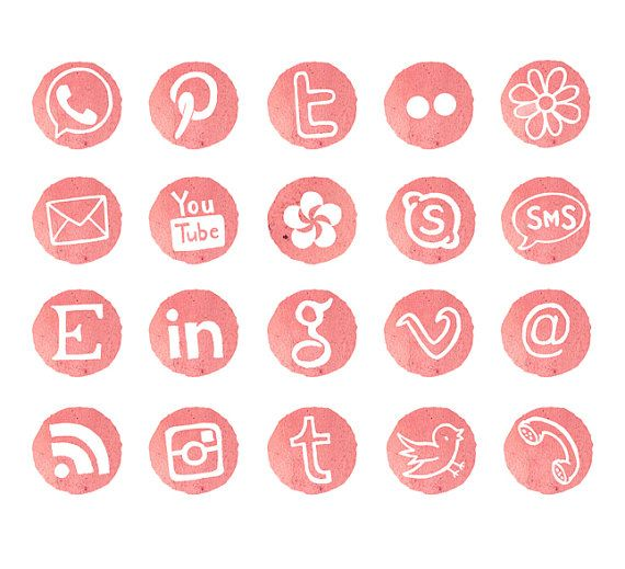 Social Media Icons Blog Buttons Watercolor by