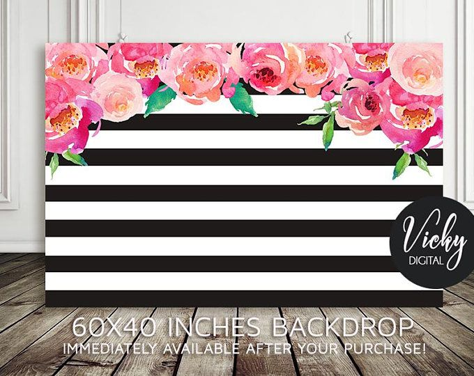 Black And White Stripe Printable BACKDROP ONLY - Birthday Backdrop ...