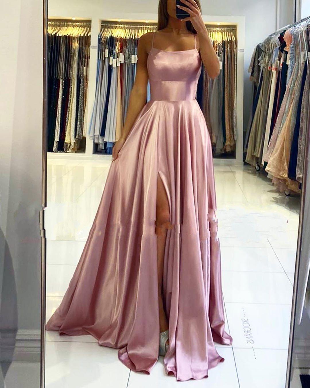 Schlichte Abendkleider Lang Rosa  Abendmoden Online Kaufen