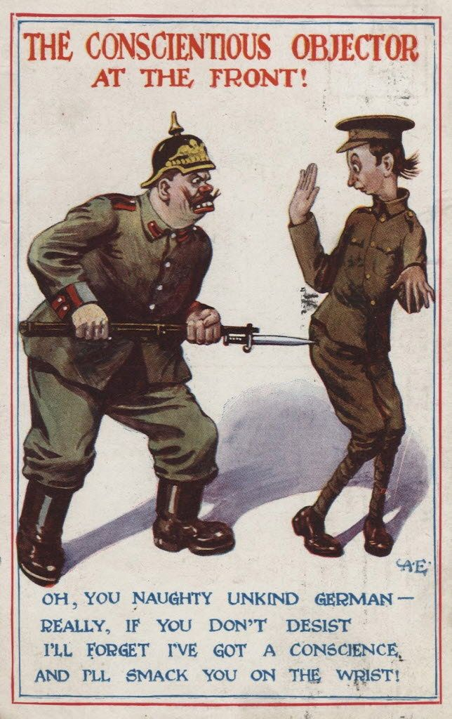 """The conscientious objector at the front!"" British poster mocking pacifists during WW1"
