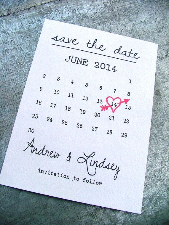 Calendar Save the date cards, Simple Save the Date