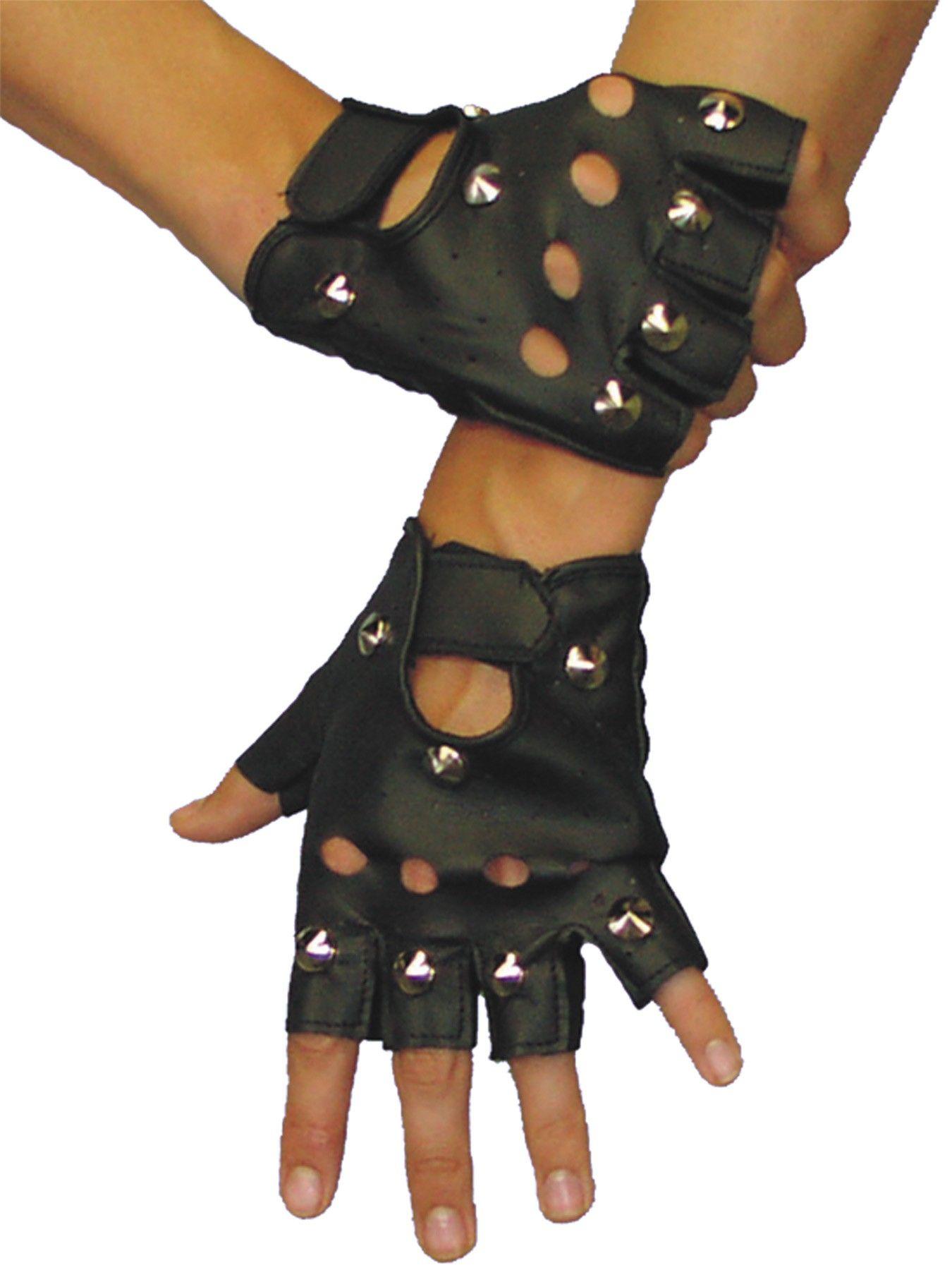 Easy Rider Studded Fingerless Gloves Biker Gang Adult