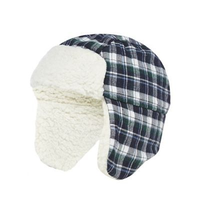 f0b80fd6e6a J by Jasper Conran Baby boys  navy checked trapper hat-