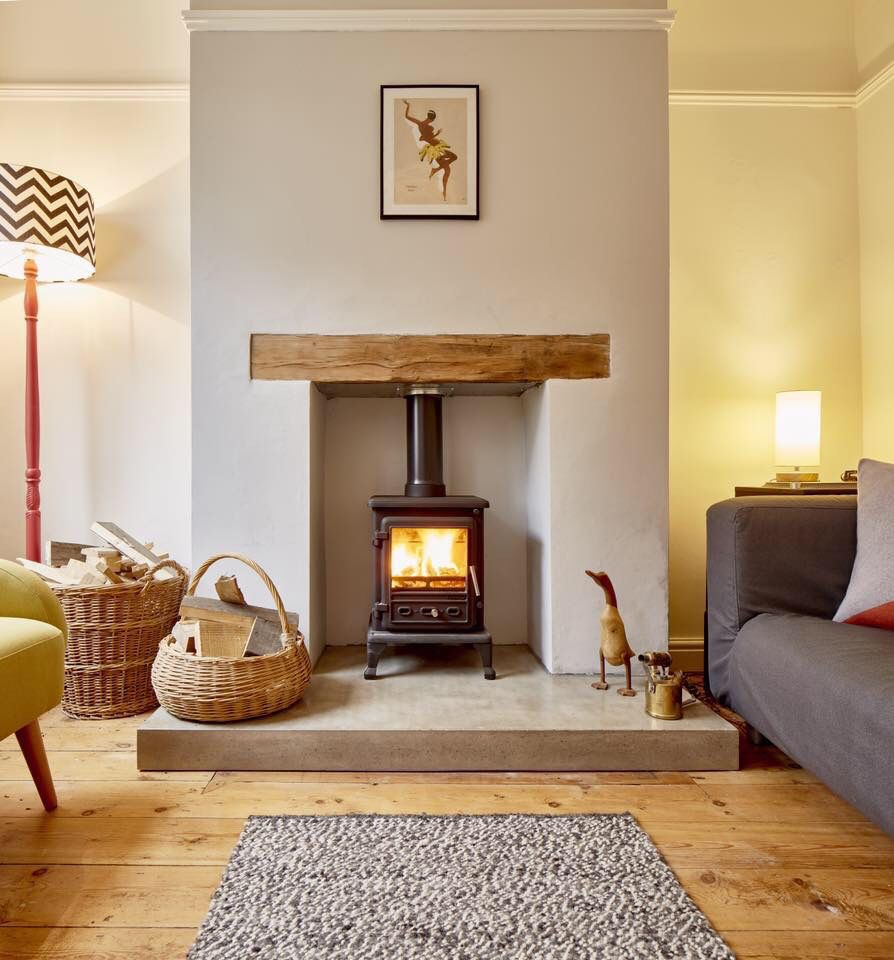 Polished concrete hearth for Living room decor ideas uk