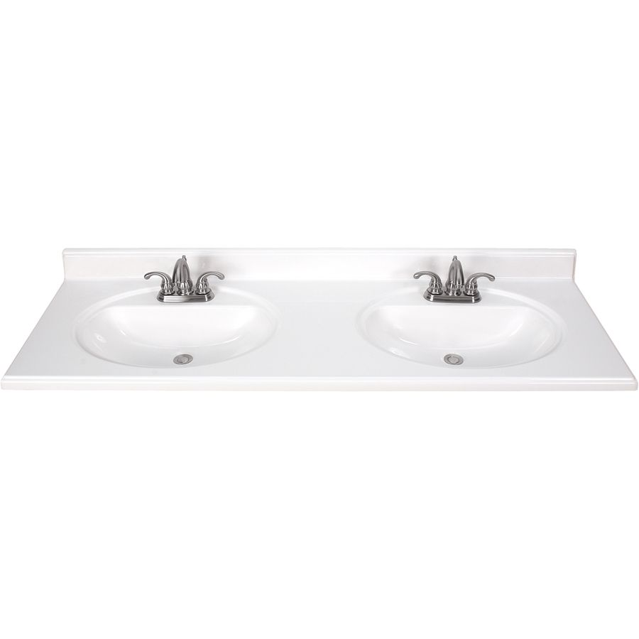 Attractive Shop White Cultured Marble Integral Double Sink Bathroom Vanity Top  (Common: X Actual