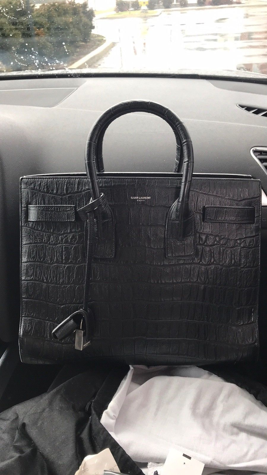 e1b2cdb4d3 Black YSL Saint Laurent Sac de Jour Crocodile Embossed Leather ...
