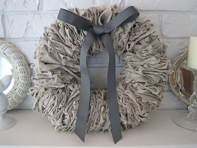 Beautiful DIY linen wreath. (on a wire hanger!)