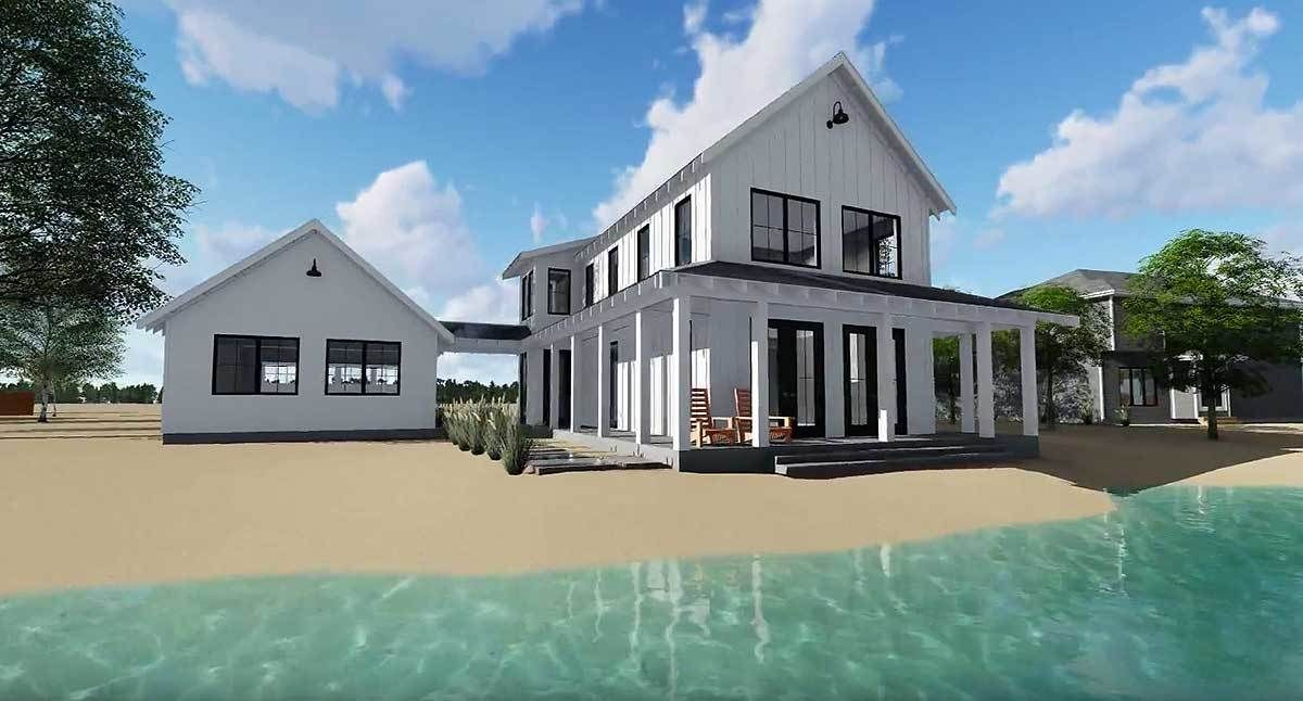 Plan 62650dj Modern Farmhouse Plan With 2 Beds And Semi Detached Garage Modern Farmhouse Plans Farmhouse Plans Cabin House Plans