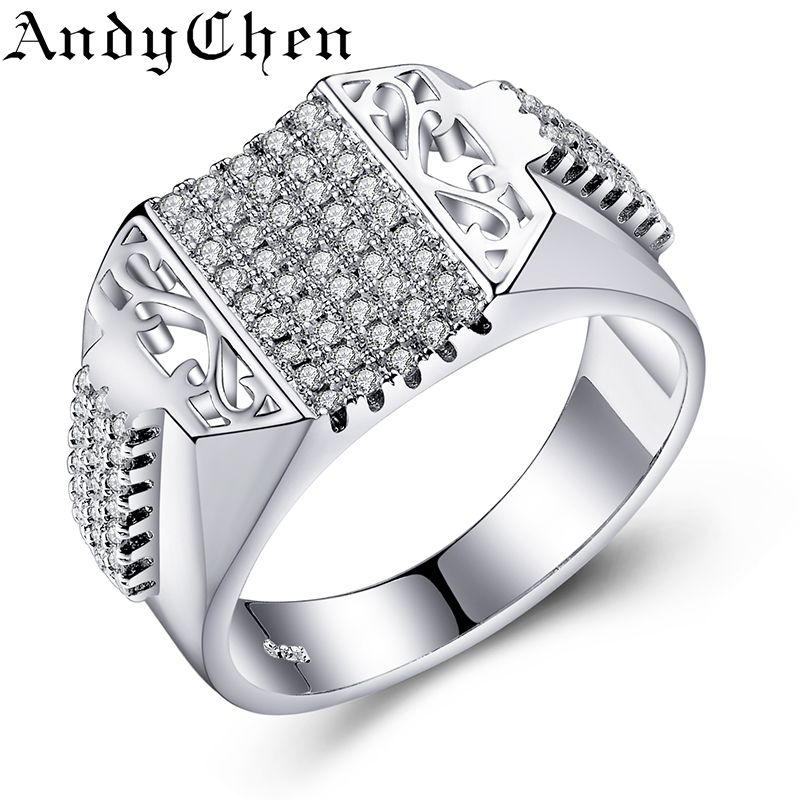 Andychen Exaggerate Big Rings Silver Plated Wedding Bague Zircon