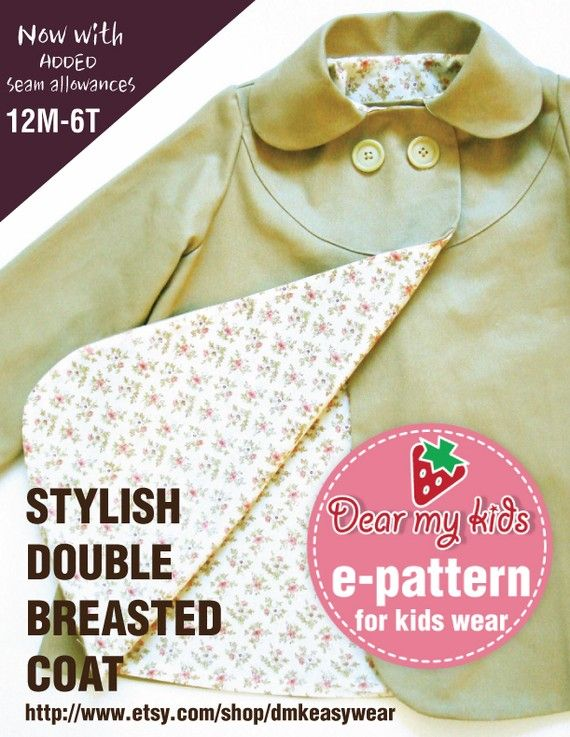 Stylish kids double breasted coat ( Age 1 to 6 ) PDF patterns ...