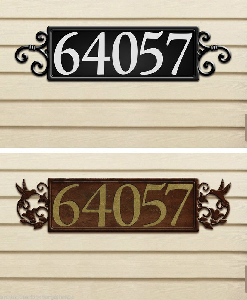 Horizontal magnetic house address plaque black with white letters wmg