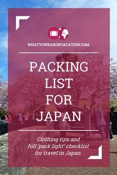 What should you wear in Japan? Our clothing advice tells you what to pack, and our free packing lists tell you exactly how much to pack. Pack right, pack light.