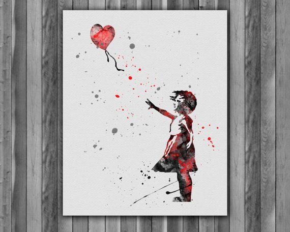 Banksy girl with balloon Art Print by digitalaquamarine82 on Etsy
