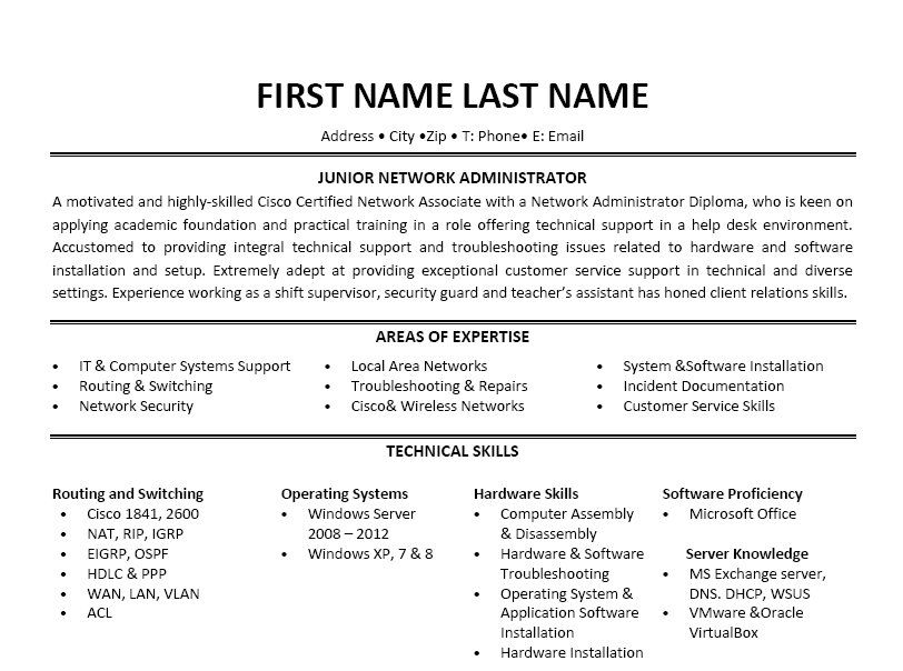 Junior Network Administrator Resume Template jobs Pinterest